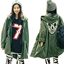 SFY New Korea Women's Punk Skull Head Hooded Coat Rain Trench Outerwear Jacket