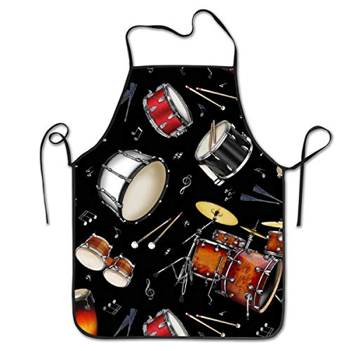 NiYoung Kitchen Apron Rock Drum Stand Bib Aprons Women Men Professional Chef Aprons with Extra Long Ties, Waterproof Waiter Hostess Apron for Crafting Baking