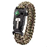 iRonsnow Emergency Paracord Bracelets Survival Gear, Flint Fire Starter, Whistle, Compass & Scraper/Knife|W, Wilderness Survival-Kit For Camping/Hiking/Boating/Sailing (Green/Camouflage)