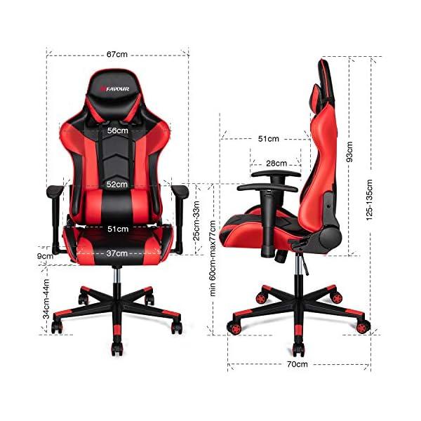 mfavour Chaise Gamer, Fauteuil Gamer, Chaise Gaming en Cuir, Chaise de Bureau Ergonomique avec Appui-tête et Oreiller…