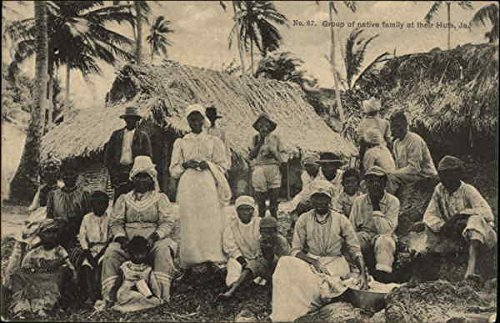 Group of Native Family at their Huts Jamaica Original Vintage Postcard (Native Postcard Huts)