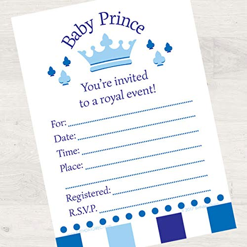 Birthday Direct Lil Prince Baby Shower 8ct Fill-in Invitations -