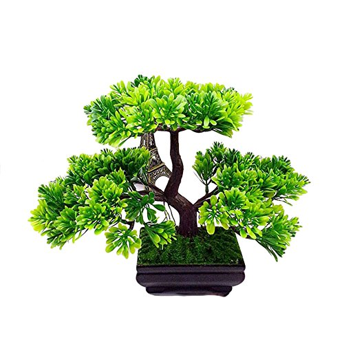 Nearly Natural Artificial Plants Greeting Guest Trees Bonsai Boy's Artificial Japanese Cedar Bonsai Tree Modern Home Decor (Green) (Japanese Ornamental Tree)