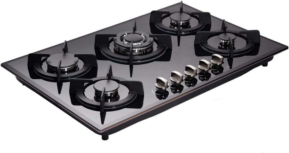 Loblich Gas Cooktop 30 inch LW5G01 5 Sealed Gas Burners Heavy Duty Continuous Grates NG//LPG TGas Cooktop Tempered Glass