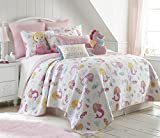 Marina Full/Queen Cotton Quilt Set, Pink, White Mermaid