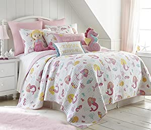 Marina Twin Cotton Quilt Set, Pink, White Mermaid