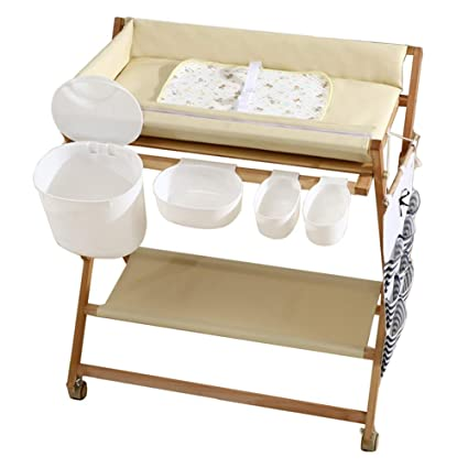 e196b8a5f0d1 Amazon.com: LXLA - Infant Changing Tables for Small Spaces, Baby Dresser  Station with Storage, Solid Wood & Foldable (Color : Beige): Home & Kitchen