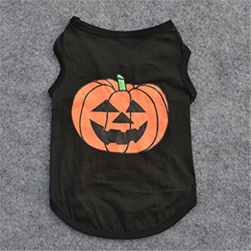 Image of haoricu Puggy Clothes, autumn Dog Cat Pet Clothes Halloween Festivals Pumpkin Hoodies Costume cute Vest Puppy Cotton T Shir Spring Winter dress Black (S)