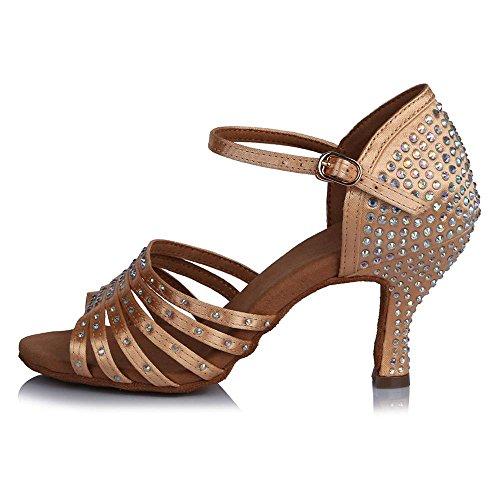 Beige de personnalisables danse adultes 65mm de hauts Tango YFF latine talons satin chaussures en bal 0qzaxtO