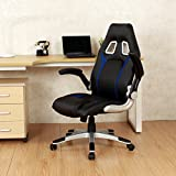 Ergonomic Swivel Video Game Chair W/Rolling Wheels Flipup Armrest Lumbar Support Blue/Black + FREE E-Book