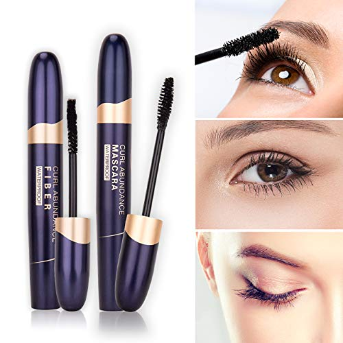 4D Silk Fiber Lash Mascara Waterproof & Fiber 2-in-1 Set, 4D Effect, Advanced Waterproof Smudge-Proof Formula, Bolder Fuller Thicker Eyelashes, Long-Lasting Clump-free Hypoallergenic [Black]