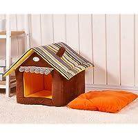 Cuccia a forma di casa in morbido peluche per Cani e Gatti (L)
