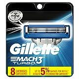 Gillette Mach3 Turbo Men's Razor Blades, 8 Blade Refills