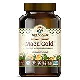 NutriGold #1 Organic Maca Root Powder Capsules - Maca Gold, 500 mg, 180 Vegetarian Capsules - GMO-free, Preservative-free, Gold Standard Peruvian Maca Root Pills