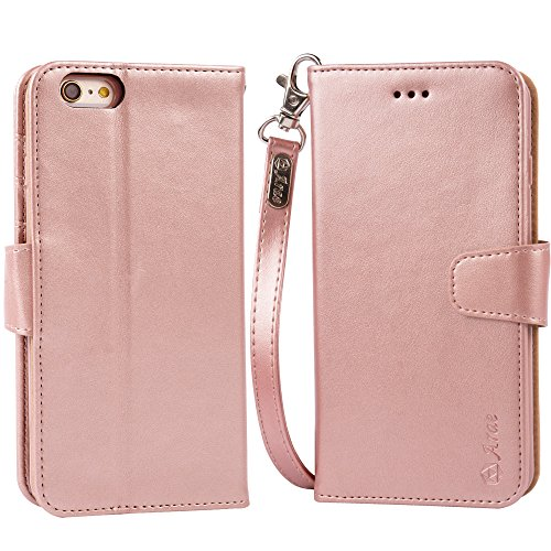 Arae Wallet case for iPhone 6s Plus/iPhone 6 Plus [Kickstand Feature] PU Leather with ID&Credit Card Pockets for iPhone 6 Plus / 6S Plus 5.5'' (not for 6/6s) (Rosegold) by Arae (Image #5)