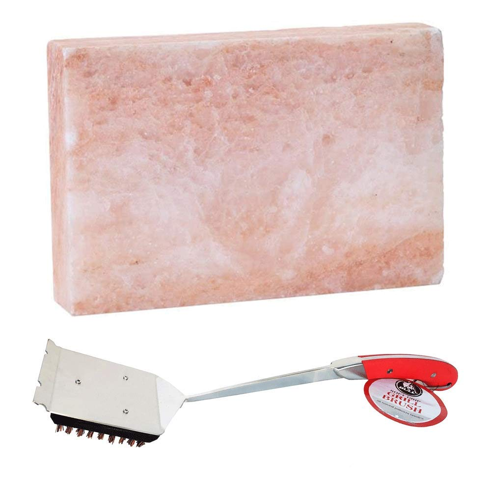 Bull Gourmet Himalayan Pink Salt Block & Avant Grill Brush w/Natural Bristles by Bull Outdoor Products