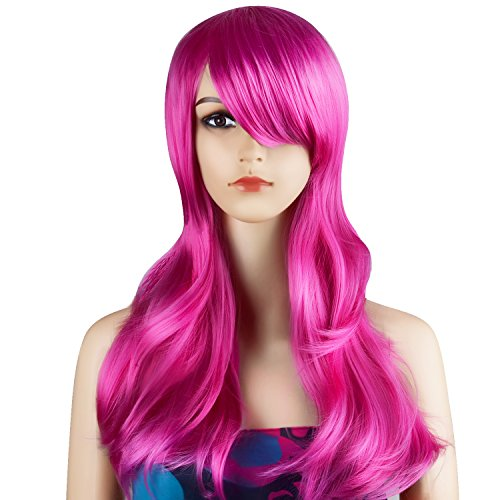 [Ecvtop Wigs 28 inch Wavy Curly Cosplay Wig Women Wig Long Hair Heat Resistant Wig (Hot Pink)] (Curly Hot Pink Wig)