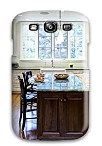 Hot Tpu Cover Case For Galaxy/ S3 Case Cover Skin - White Kitchen With Green Marble Countertops And Island