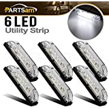 Partsam 6X 4 Marine/Boat Slim Line Clear LED Utility Strip Light 6 Diodes Sealed