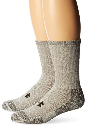Under Armour UA 2-Pair Boot Crew, Brown, Shoe Size: Mens 8-12, Womens (Best Under Armour Snow Socks)