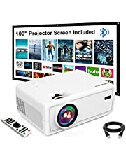 """$99 » Mini Projector, GROVIEW Outdoor Movie Projector with 100"""" Projector Screen, 1080P HD Supported Portable Projector, Compatible with Fire Stick,HDMI,VGA,USB,TVBox,Laptop,DVD"""