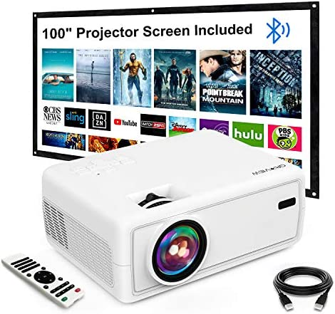 """Mini Projector, GROVIEW Outdoor Movie Projector with 100"""" Projector Screen, 1080P HD Supported Portable Projector, Compatible with Fire Stick,HDMI,VGA,USB,TVBox,Laptop,DVD"""