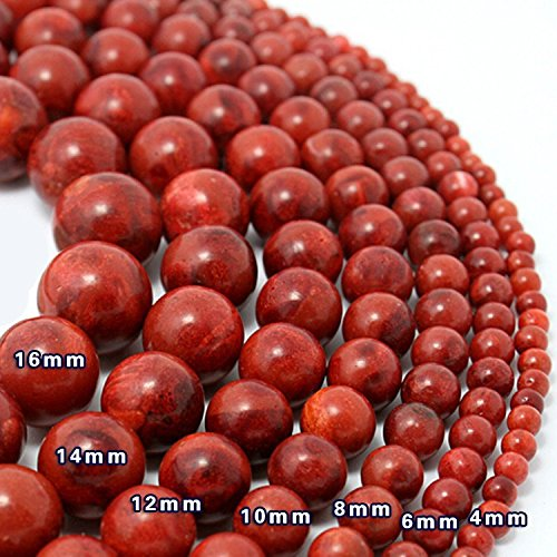 (12pcs 16mm Round Red Coral Beads Natural Handmade Fashion Jewelry Beads for Jewelry Making DIY Bracelet Necklace)