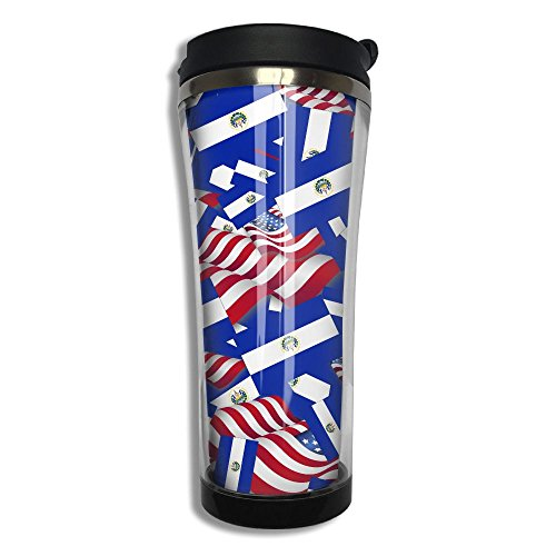 El Salvador Flag With America Flag 10.6 Oz Stainless Steel Vacuum Cup Leak Proof Sport Cup Travel Coffee Mug Thermos Cup