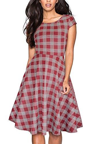 HOMEYEE Women's 1950s Vintage Elegant Cap Sleeve Swing Party Dress A009 (XXL, Red Grid)