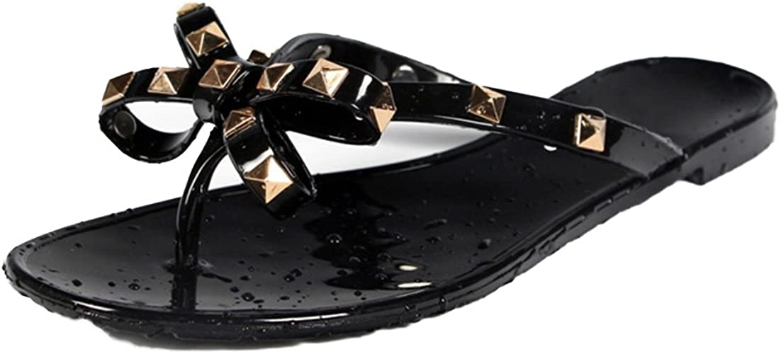 NEW WOMENS LADIES BOW DIAMANTE JELLY FLIP FLOPS SANDALS SHOES SIZE BEACH SUMMER