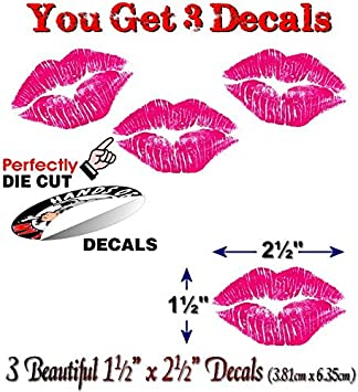 Pink Lips Car Sticker 3/'/' x 2/'/'