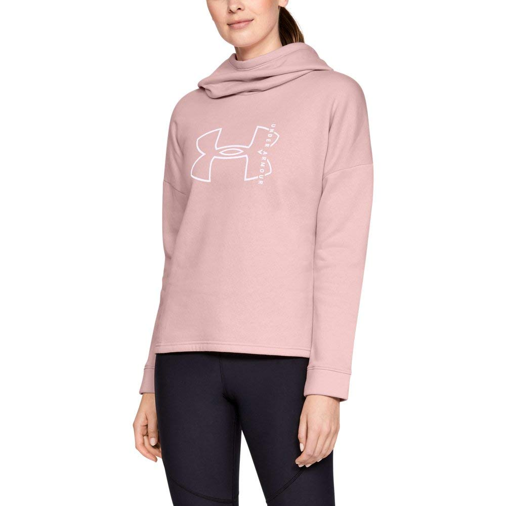 Under Armour Women's Rival Fleece Big logo hoodie, Flushed Pink (602)/White, X-Small