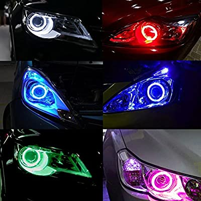 Everbrightt 1-Pair Blue 70MM 60SMD COB LED Headlight Angel Eyes Bulb Halo Ring Lamp Light with Housing: Automotive
