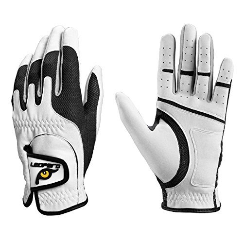(Leopard Junior Kids Youth Toddler Boys Girls Golf Gloves Premium Synthetic Leather LH Golf Glove One Size Fits All (Black, Large (8-12 y/o)))