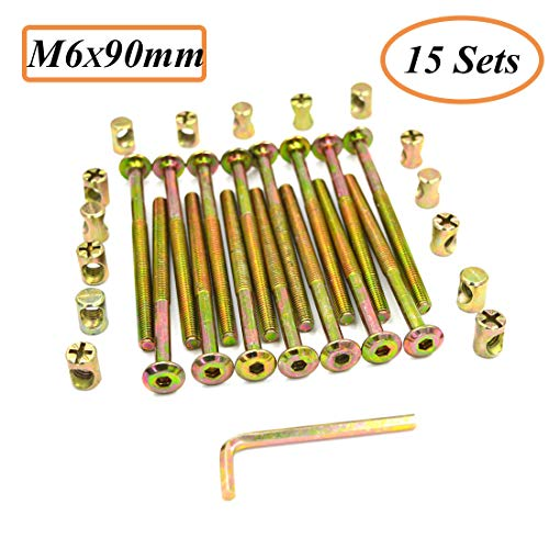 uxcell M6x120mm Furniture Bolt Nut Set Hex Socket Screw 56mm Thread Length with Barrel Nuts Phillips-Slotted 2 Sets