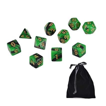 Amazon.com: ZJHZN - Juego de 10 dados de poliedro verde ...