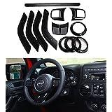 E-cowlboy Full Set Interior Decoration Trim Kit--Steering Wheel Trim, Center Console Air Outlet Trim, Door Handle Cover Inner, Passenger Seat Handle Trim For Jeep Wrangler 2011-2016 4-door (Black)