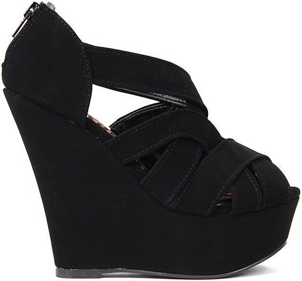 black wedge sandals platform