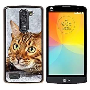 Caucho caso de Shell duro de la cubierta de accesorios de protecci¨®n BY RAYDREAMMM - LG L Bello L Prime - Gato de Bengala Casa gatito felino Mascota
