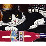 Continental Art Center HD 044 Black Cat with Wine Art Tile, 11 by 14-Inch