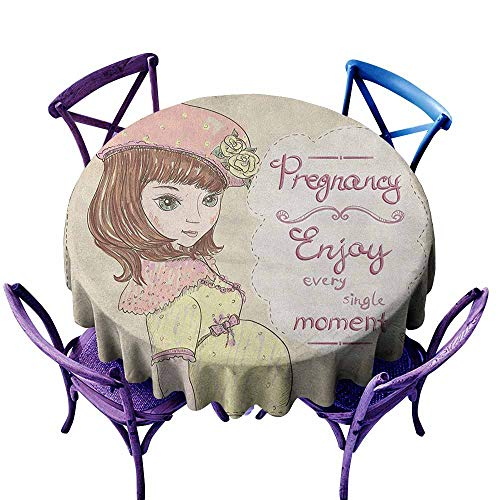 ONECUTE Waterproof Table Cover,Quotes Pregnancy Enjoy Every Single Moment Clipart Pregnant Woman Dress Hat,Party Decorations Table Cover Cloth,47 INCH Eggshell Pink Multicolor