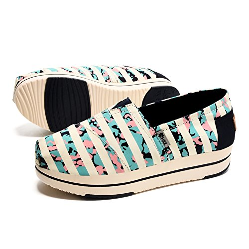 Tiosebon Kvinna Duk Slip-on Toning Sko Walking Sneaker 6213 Wathet