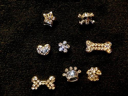 Crown Pet Charm (Snazzi Pet 10mm Slider Pet Collar Charms: Crown Tiara, Star, Gem Flower, Heart, Cute Skinny Dog Bone, Big Dog Bone, Scull/Crossbones, Paw)
