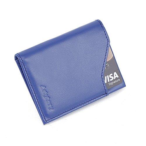 Front Pocket Wallet for Men RFID Blocking Credit Card Wallets Slim Black Leather (Blue)