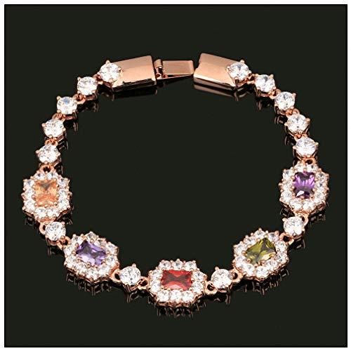 Womens Bracelets Classic Rose Gold Color Bracelet Austrian Crystal Women Wedding Rose Gold Multi (Multi Strand Marcasite)