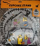 Halloween 2 Tier Cupcake Stand Decorated with Pumpkins & Polka Dots Orange Yellow & Black