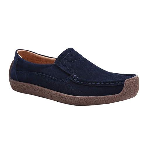 Yudesun Conducción Mocasines Bote Zapatos - Plano Gamuza Casual Mujeres Mocasines Zapatillas de Deporte Moda Caminar Ligero Transpirable: Amazon.es: Zapatos ...