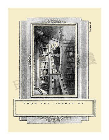 Bookplates, Antioch design Man on Ladder in Library