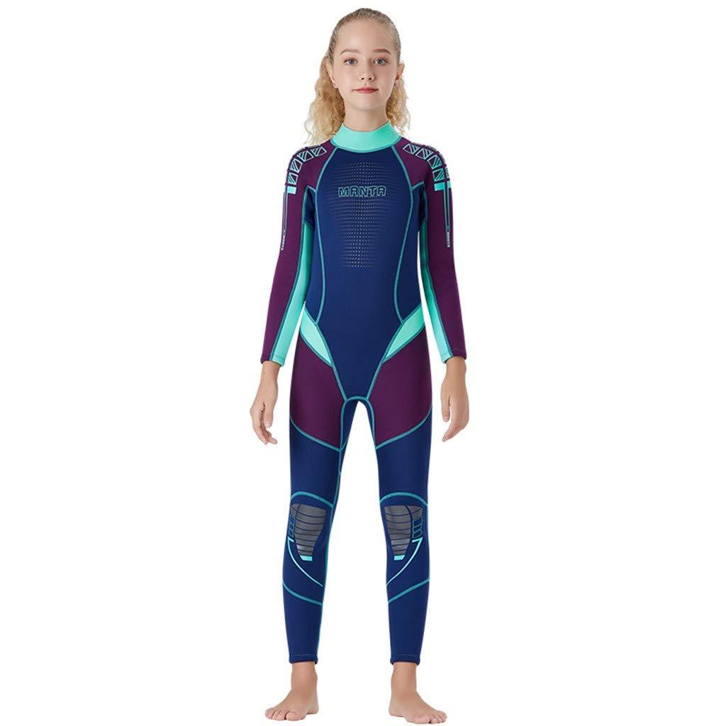 FEDULK Kids Scuba One Piece Diving Suit Neoprene Snorkeling Surfing Swimwear Wetsuit for Water Sport(Purple, X-Large)