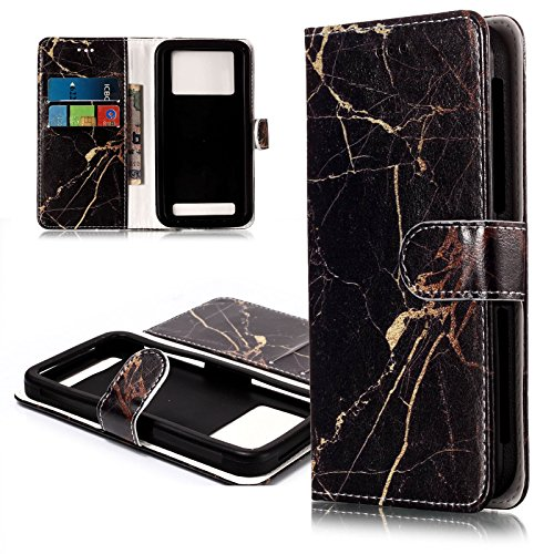 Coopts 3.8-4.3 inch Universal Cellphone Case, PU Leather Cover iPhone 4/4s, iPhone 5S 5 SE 5G, BLU Advance A4, TracFone Alcatel OneTouch Pop Star LTE A845L More 4.0 inch Phone, Black Marble